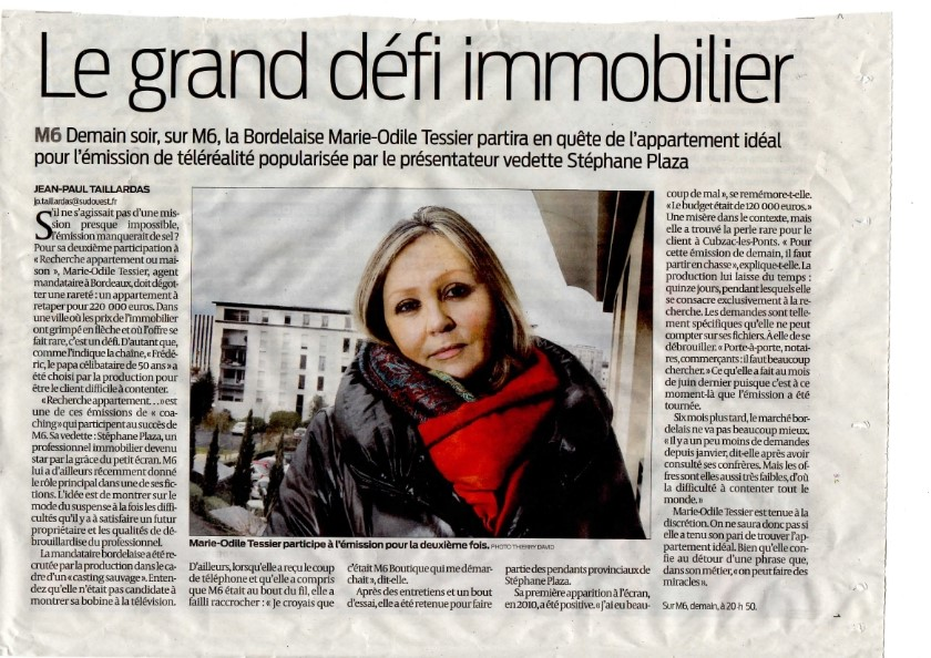 JOURNAL SUD OUEST Marie-Odile TESSIER M6 Plaza